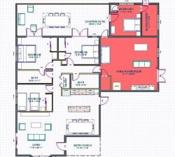 Floorplan- 4th bedroom and game room in red