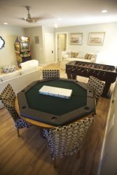 Poker table setup in game room