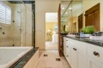 Master bathroom with jetted tub and walk-in shower