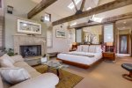 Master suite with vaulted ceilings