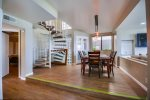 Spiral staircase leads to Master Suite
