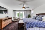The Master Suite comes with a king-size bed, flat screen TV and ceiling fan