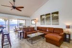 Vaulted ceilings give the living area an open feel