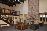Community lobby and fireplace
