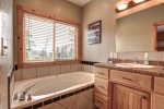 Eagle Trail Lodge bath  with jetted tub.