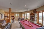 Eagle Trail Lodge game room with pool table and foosball.