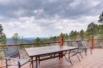 Eagle Trail Lodge deck with table and chairs and views.