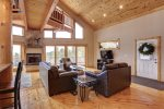 Eagle Trail Lodge living room with vaulted ceilings.