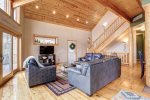 Eagle Trail Lodge living room with wood ceilings.