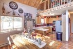 Knotty Pine Chalet main floor kitchen and dining room.