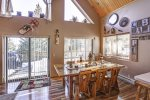 Knotty Pine Chalet with dining area.