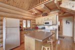 Dakota log Cabin kitchen with breakfast bar.