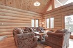 Dakota log Cabin living   with full log interior.