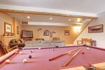 Arrow Lodge-Lower level game room with pool table and big screen TV.