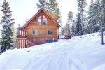 Arrow Lodge - Winter view of log cabin.