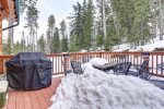 Arrow Lodge - Wnter view from deck with propane grill.
