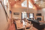 Arrow Lodge- Dining area  with vaulted ceiling.