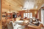 Lizzy`s Getaway with knotty pine ceiling.