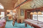 Black Bear Lodge with sleeping loft and pool table.