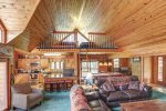 Black Bear Lodge main floor with vaulted ceilings and loft.
