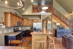 Iron Horse Cabin kitchen with stainless steel appliances.