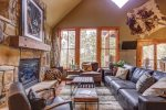 Iron Horse Cabin living room with gas fireplace.