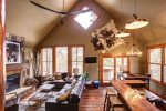 Iron Horse Cabin living room with vaulted ceilings.