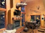 Cash Sluice Lodge kitchen with hardwood cabinets.