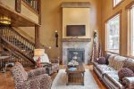 Gray Goose Lodge living room with gas fireplace.