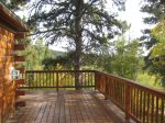 Wrap around deck with forest views.