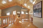 Grand View Lodge loft with wood  ceiloings.