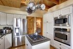 Grand View Lodge kitchen with stainless steel appliances.