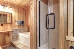 Eagle`s Lair bath with whirlpool tub and walk in shower.
