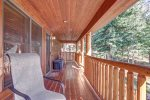 Eagle`s Lair deck with log railing.