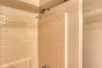 Chase`s cabin deck with forest views.