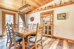 Chase`s cabin dining room with vaulted ceiling.