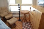 Leather Chair, Handmade Furniture, Hardwood Floors and Navajo Rugs