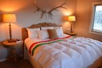 Comfy King Bed, Feather Pillows,  Hudson Bay Blanket and Goose Down Comforter