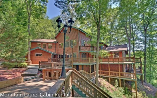 Massive 5 200 Square Foot Lakefront Mountainside Cabin Overlooking