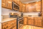 Gas range. Quartz countertops. Fully furnished.