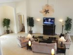 Two Story Great Room with 60 inch Flat Screen TV