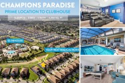 Champions Paradise | 8 Bed Villa in Great Location Near Clubhouse & Pool, Kids Room, Projection Style Theater Room with PS4 & Games Room