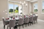 The formal dining area with seating for 12