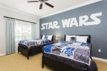 The kids will love the Stars Wars theme bedroom with 2 full beds