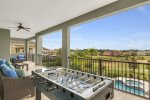 Enjoy a game of outdoor foosball table or admire beautiful view from the luxury seating