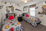 This Kid`s bedroom comes to life with comic book style artwork