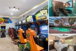 This upgraded home has a games room and private theater for your next vacation