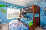 The kids will have a bedroom with a twin over a full and a trundle bed underneath