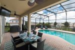 The lanai has outdoor seating for you to enjoy meals by the pool and option of BBQ to rent