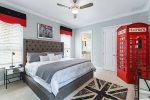 This bedroom even has a fully functional phone booth to complete the UK theme